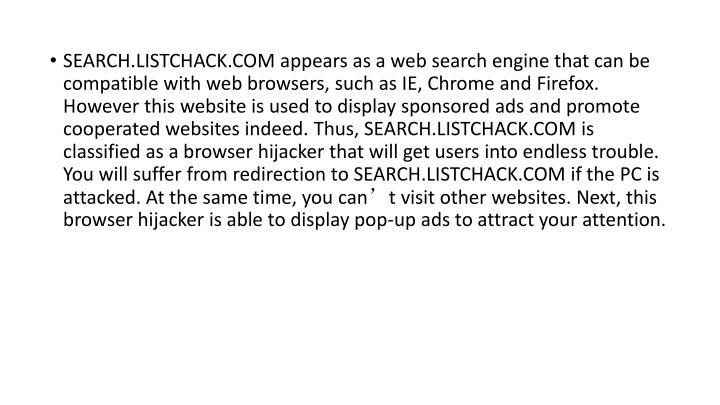 SEARCH.LISTCHACK.COM appears as a web search engine that can be compatible with web browsers, such a...