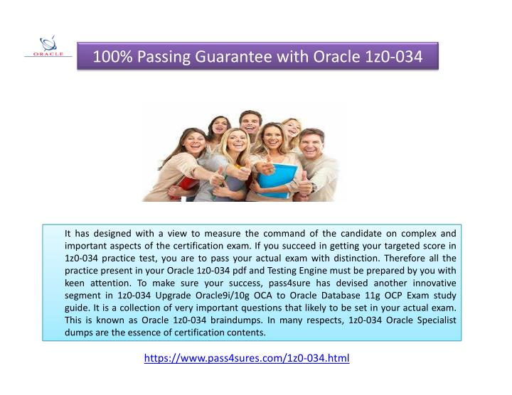 100% Passing Guarantee with Oracle 1z0-034