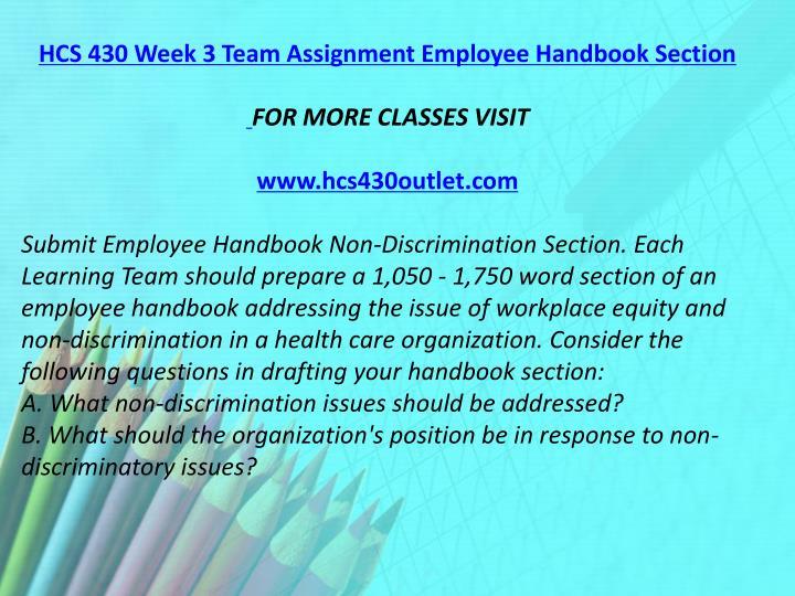HCS 430 Week 3 Team Assignment Employee Handbook