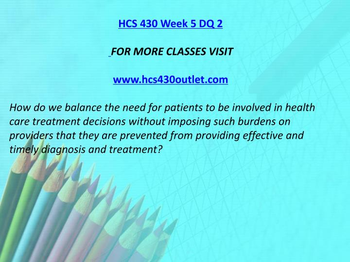 HCS 430 Week 5 DQ