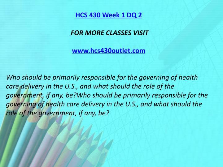 HCS 430 Week 1 DQ