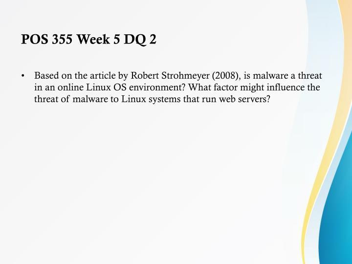 POS 355 Week 5 DQ 2