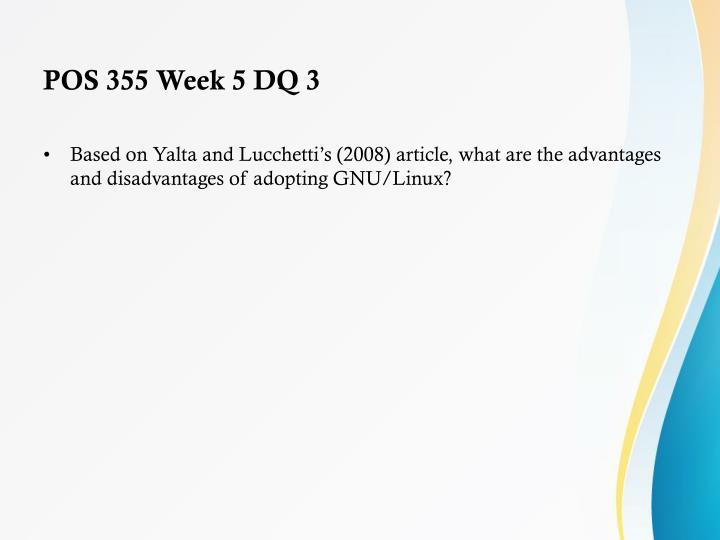 POS 355 Week 5 DQ 3