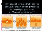 why select crowdedhub com to achieve their dream projects campaign goals on different platforms