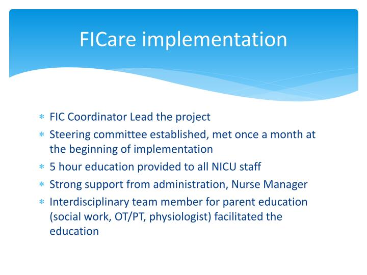 Ficare implementation