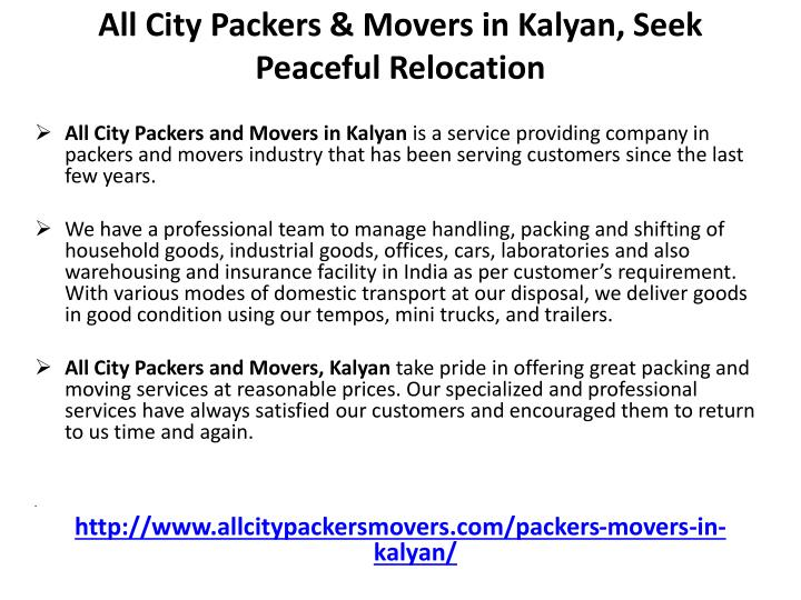 All City Packers & Movers in Kalyan, Seek Peaceful Relocation