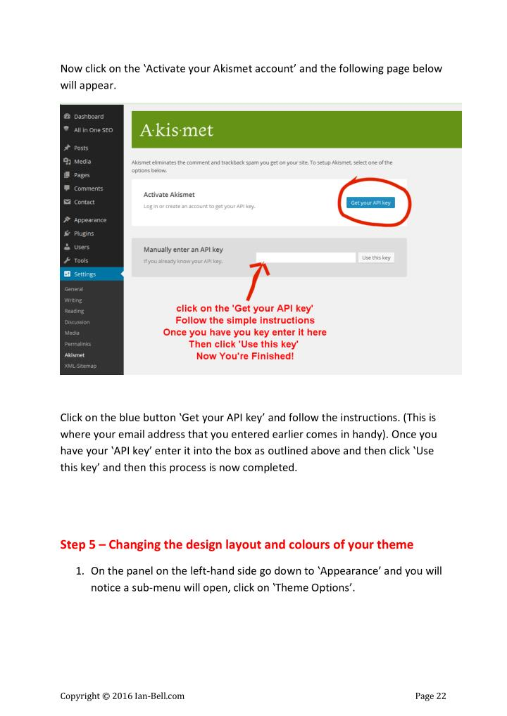 Now click on the 'Activate your Akismet account' and the following page below