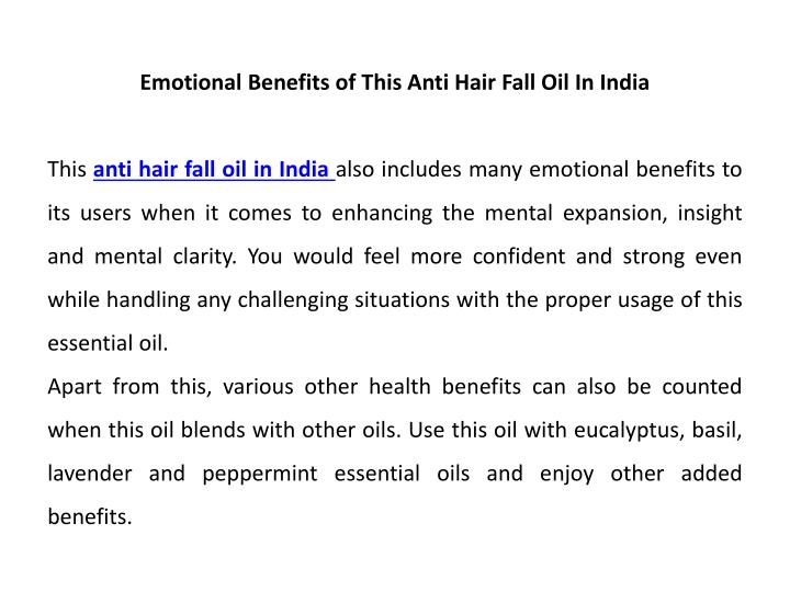 Emotional Benefits of This Anti Hair Fall Oil In