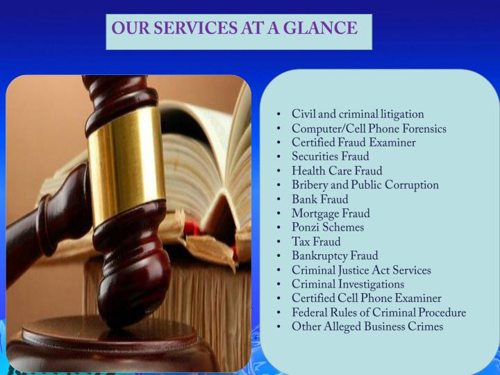 OUR SERVICES AT A GLANCE