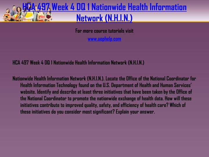 HCA 497 Week 4 DQ 1 Nationwide Health Information Network (N.H.I.N.)