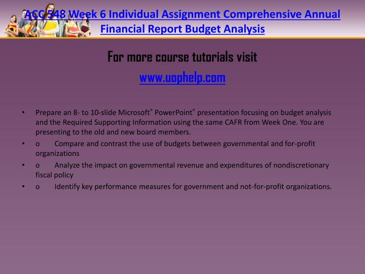 ACC 548 Week 6 Individual Assignment Comprehensive Annual Financial Report Budget