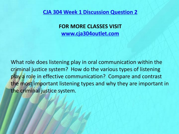 CJA 304 Week 1 Discussion Question 2