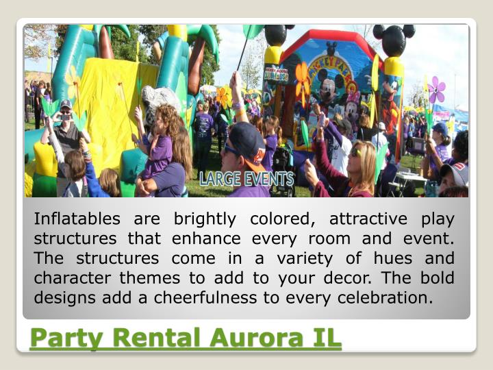 Inflatables are brightly colored, attractive play structures that enhance every room and event. The structures come in a variety of hues and character themes to add to your decor. The bold designs add a cheerfulness to every celebration.