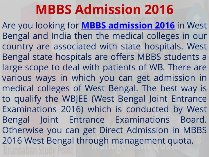 MBBS Admission 2016