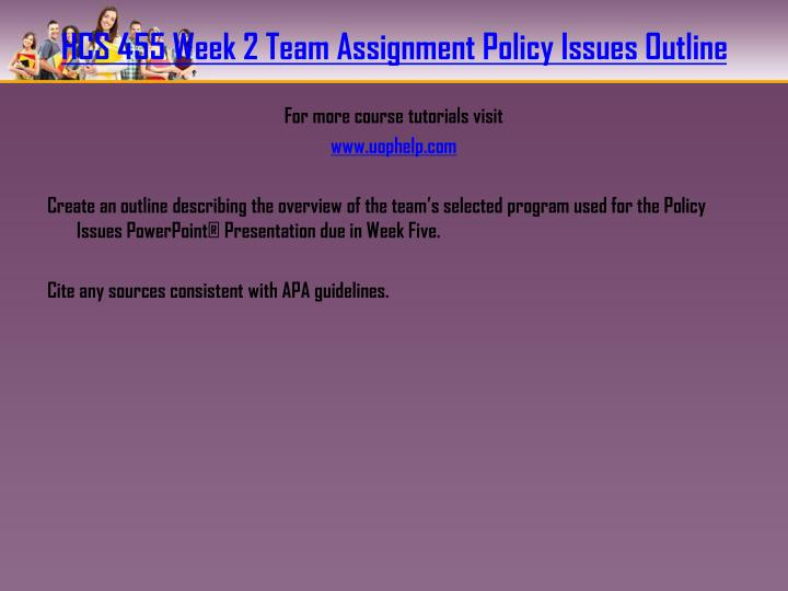 HCS 455 Week 2 Team Assignment Policy Issues Outline