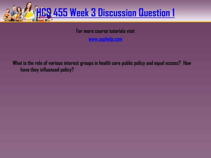 HCS 455 Week 3 Discussion Question 1