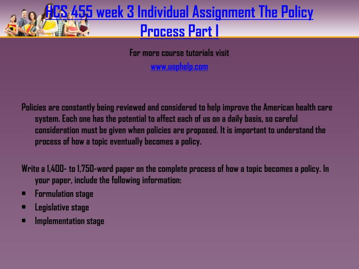 HCS 455 week 3 Individual Assignment The Policy Process Part I