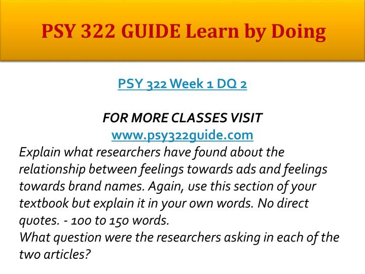 Psy 322 guide learn by doing1