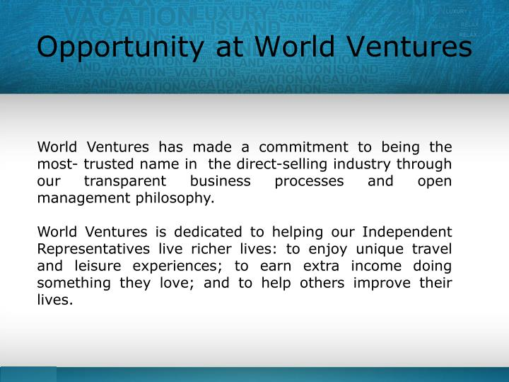 Opportunity at World Ventures