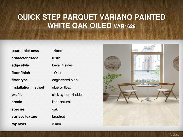 Quick Step Parquet Variano Painted White Oak Oiled