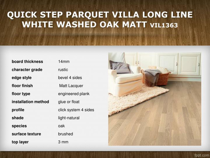 Quick Step Parquet Villa Long Line White Washed Oak Matt