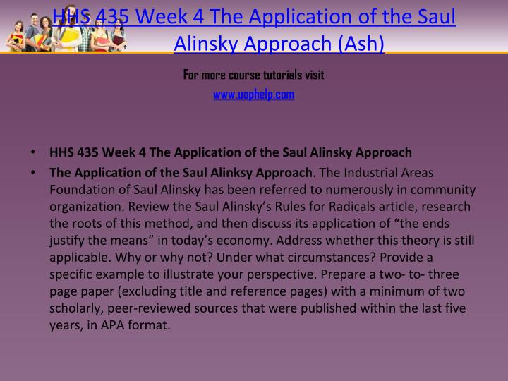 HHS 435 Week 4 The Application of the Saul