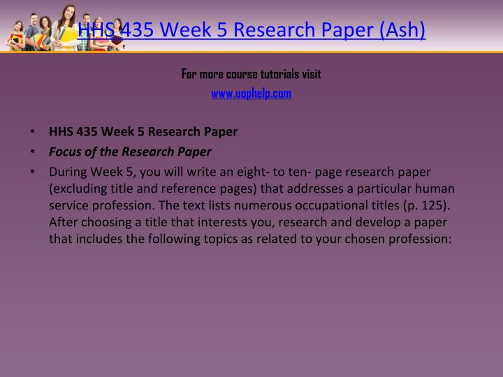 HHS 435 Week 5 Research Paper (Ash)