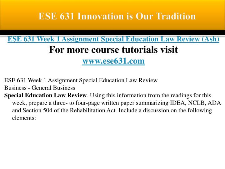 Ese 631 innovation is our tradition1