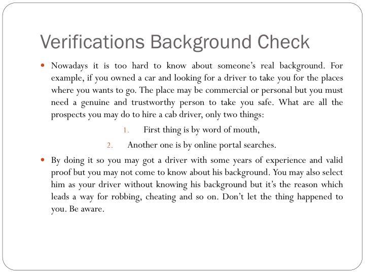 Verifications background c heck