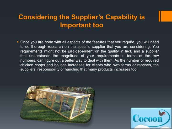 Considering the Supplier's Capability is