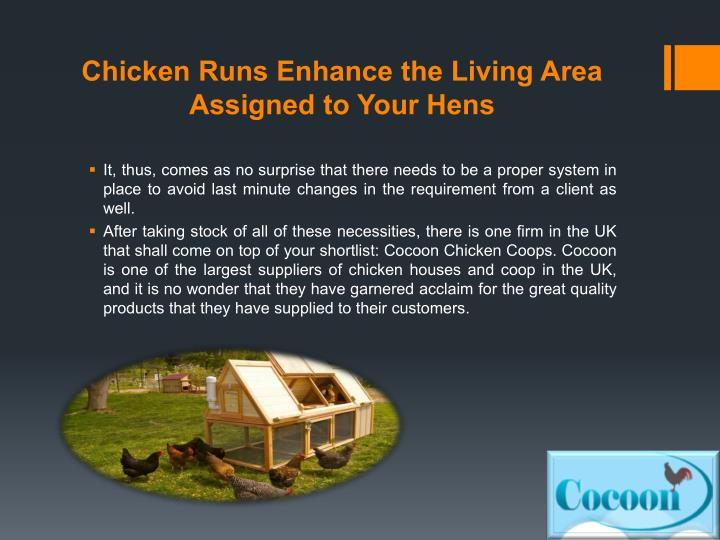 Chicken Runs Enhance the Living Area