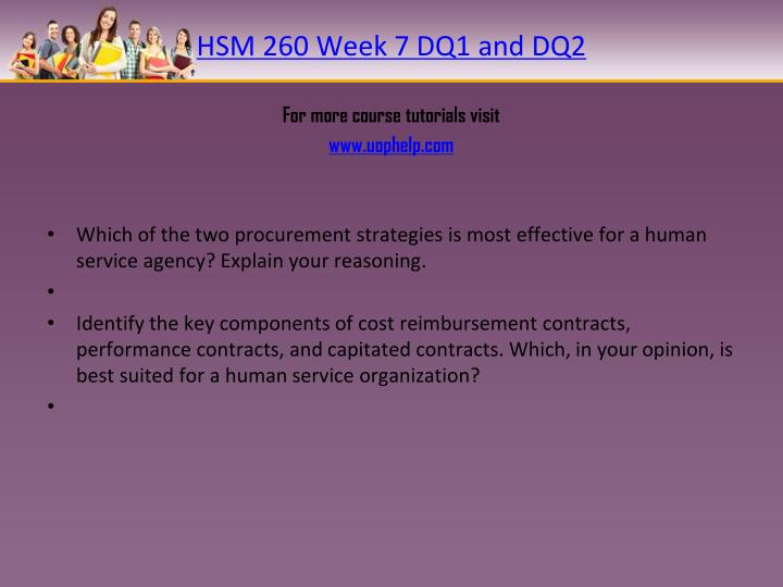 HSM 260 Week 7 DQ1 and