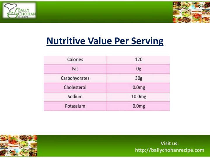 Nutritive Value Per Serving