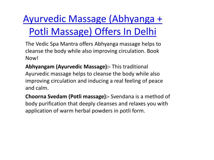 Ayurvedic massage abhyanga potli massage offers in delhi