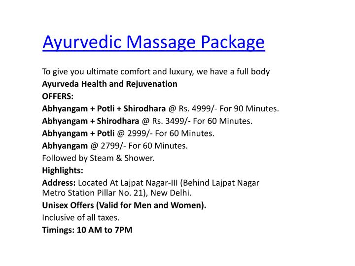 Ayurvedic Massage Package