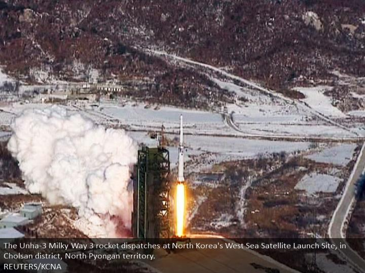 The Unha-3 Milky Way 3 rocket launches at North Korea's West Sea Satellite Launch Site, in Cholsan county, North Pyongan province.  REUTERS/KCNA