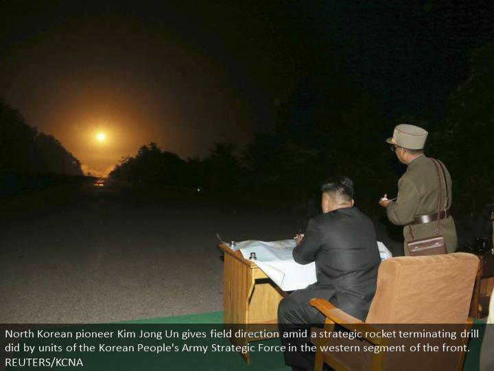North Korean leader Kim Jong Un provides field guidance during a tactical rocket firing drill carried out by units of the Korean People's Army Strategic Force in the western sector of the front. REUTERS/KCNA