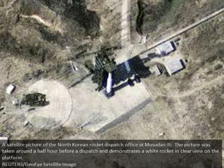A satellite image of the North Korean missile launch facility at Musudan-Ri. The image was taken about a half hour before a launch and shows a white missile in clear view on the launch pad.  REUTERS/GeoEye Satellite Image