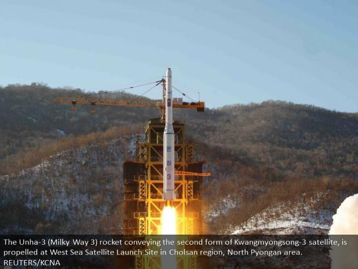 The Unha-3 (Milky Way 3) rocket carrying the second version of Kwangmyongsong-3 satellite, is launched at West Sea Satellite Launch Site in Cholsan county, North Pyongan province. REUTERS/KCNA