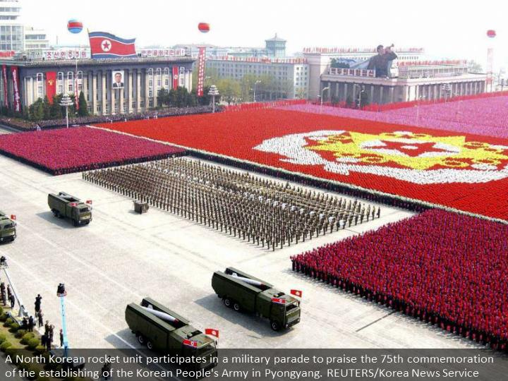 A North Korean missile unit takes part in a military parade to celebrate the 75th anniversary of the founding of the Korean People's Army in Pyongyang. REUTERS/Korea News Service