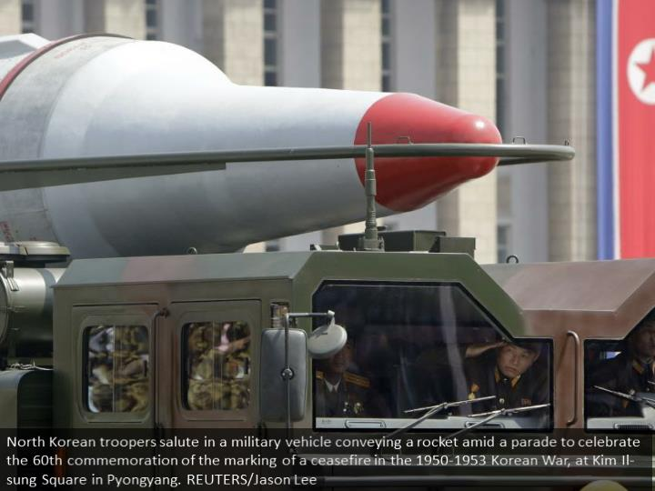 North Korean soldiers salute in a military vehicle carrying a missile during a parade to commemorate the 60th anniversary of the signing of a truce in the 1950-1953 Korean War, at Kim Il-sung Square in Pyongyang. REUTERS/Jason Lee