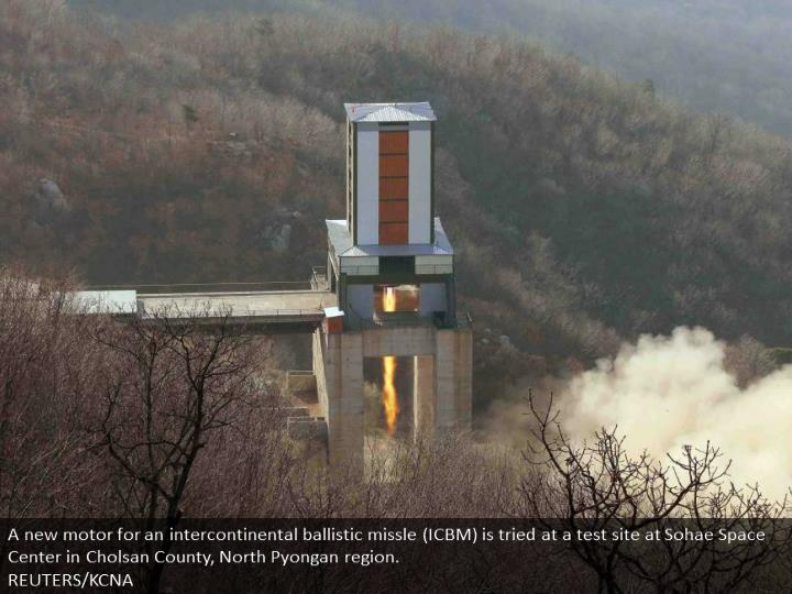 A new engine for an intercontinental ballistic missle (ICBM) is tested at a test site at Sohae Space Center in Cholsan County, North Pyongan province.  REUTERS/KCNA