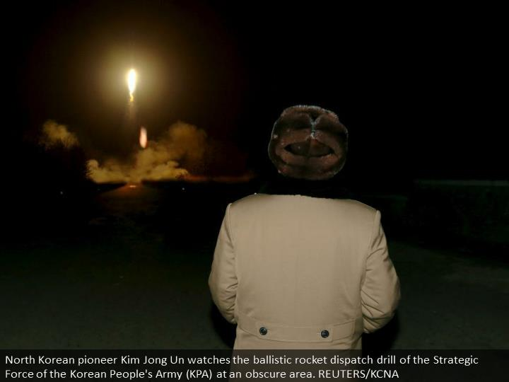 North Korean leader Kim Jong Un watches the ballistic rocket launch drill of the Strategic Force of the Korean People's Army (KPA) at an unknown location. REUTERS/KCNA