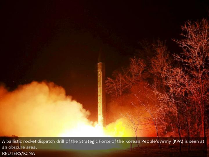 A ballistic rocket launch drill of the Strategic Force of the Korean People's Army (KPA) is seen at an unknown location.  REUTERS/KCNA