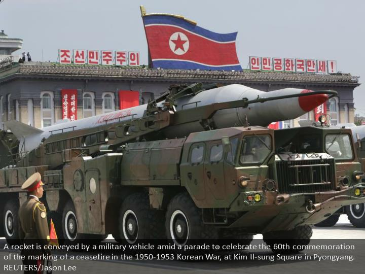 A missile is carried by a military vehicle during a parade to commemorate the 60th anniversary of the signing of a truce in the 1950-1953 Korean War, at Kim Il-sung Square in Pyongyang. REUTERS/Jason Lee