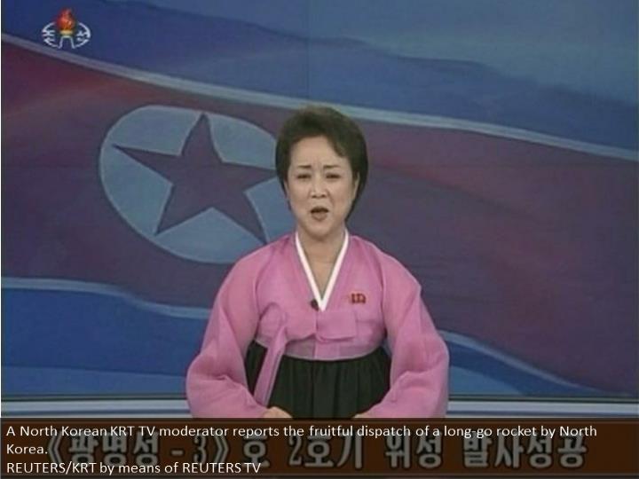 A North Korean KRT TV presenter announces the successful launch of a long-range rocket by North Korea.  REUTERS/KRT via REUTERS TV