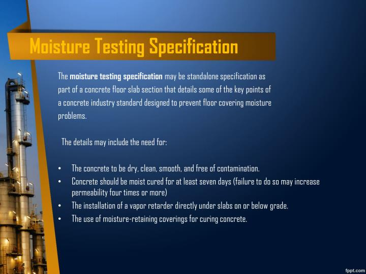 Moisture Testing Specification