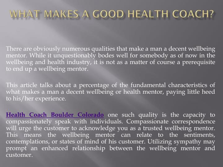 What makes a good health coach