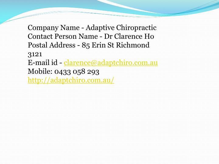 Company Name - Adaptive Chiropractic