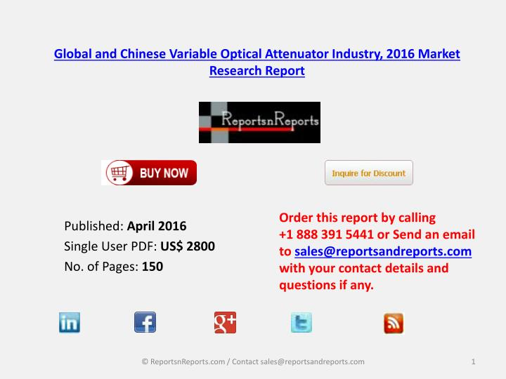 Global and chinese variable optical attenuator industry 2016 market research report